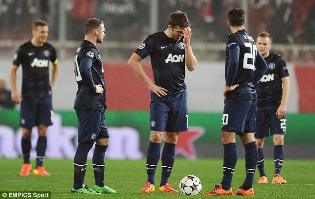 Crashing out: With Champions League progression on a knife edge following a 2-0 last 16 defeat at Olympiacos, Manchester United are running out of avenues to reach Europe next term