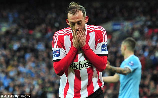 No consolation: Unlike the FA Cup, the League Cup does not hand out European spots to its runners-up if the winners already reach the Champions League - denying Steven Fletcher and Sunderland a route to the Europa League