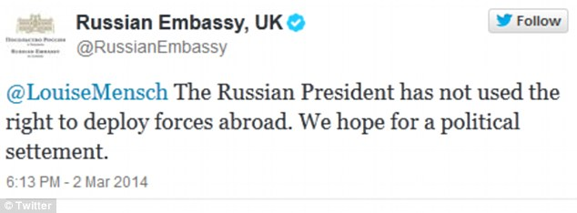 Louise Mensch and Russian Embassy Twitter row over Ukraine