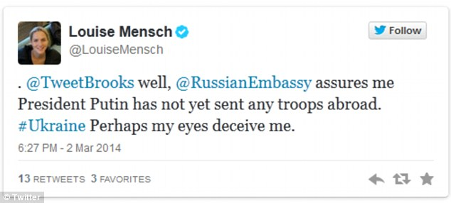 Former Tory MP Louise Mensch has entered into a Twitter row with the UK's Russian Embassy over troop activity in Crimea