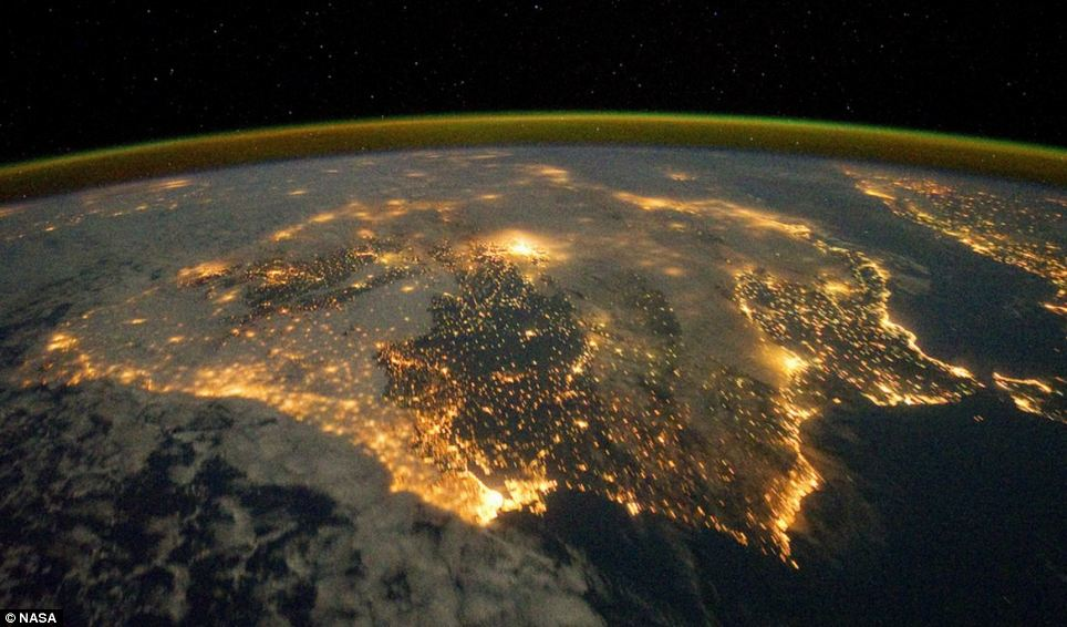 The city lights of Spain and Portugal define the Iberian Peninsula in this photograph from the International Space Station (ISS). Several large metropolitan areas are visible, marked by their relatively large and brightly lit areas, including the capital cities of Madrid, Spain - located near the centre of the peninsula. The astronaut view is looking toward the east