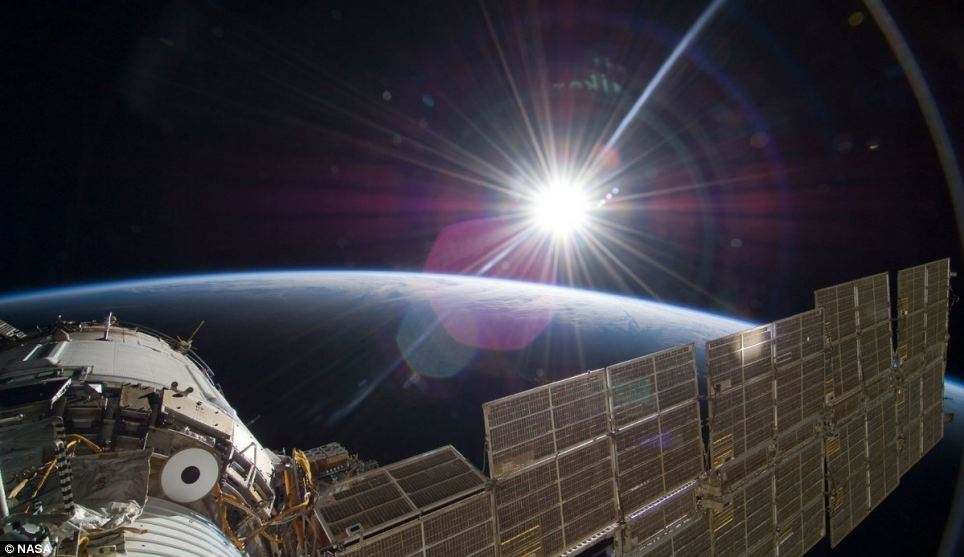 The bright sun greets the International Space Station in this November 22 scene from the Russian section of the orbital outpost, photographed by one of the astronauts