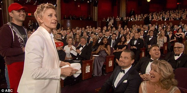 Ellen DeGeneres had the likes of Jonah Hill, Martin Scorsese, Leonardo Di Caprio and his mother eating out of the palm of her hand - literally when she started handing out slices of the pizza