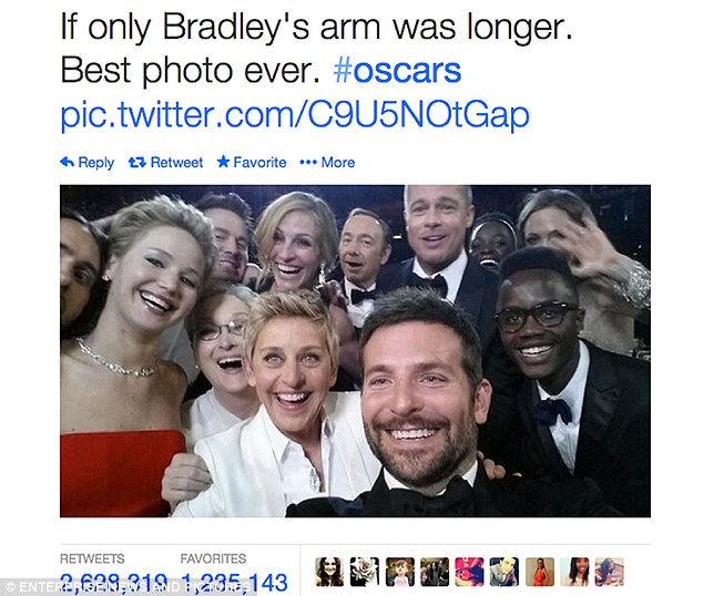 Ellen DeGeneres' less famous reference to the phenomenon of the moment was the more subtle gag of a selfie of her face which she said was going to have the caption '#Oscars #blessed'