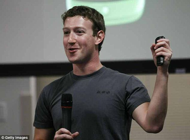 Going up: Mark Zuckerberg's net worth nearly doubled to $28.5billion since Facebook's share price is now up 130 per cent over the past year