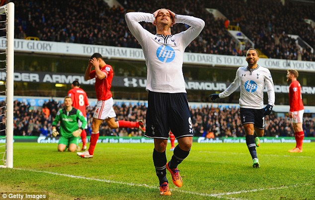 Dejected: Cardiff's players look gutted after Soldado scores for Spurs