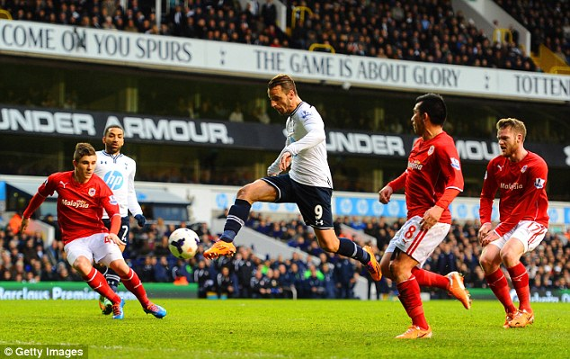 More misery: Roberto Soldado's goal consigned Cardiff to another defeat on Sunday