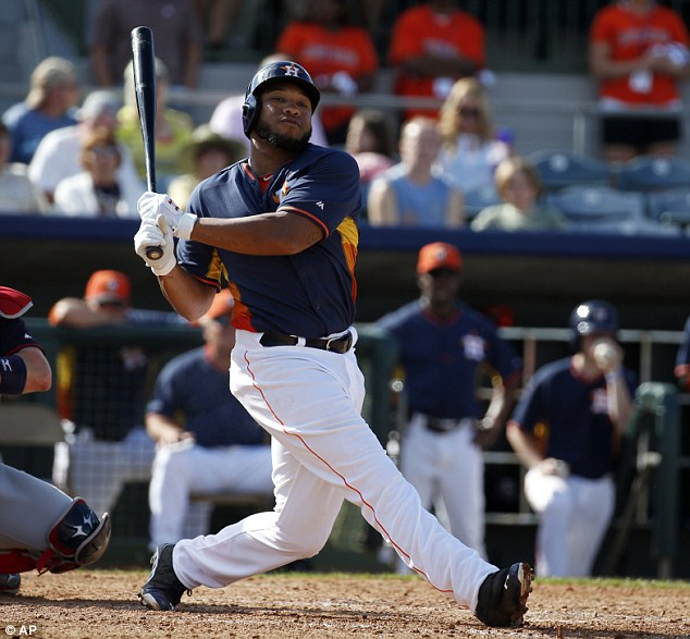 'I'm an addict': Houston Astros first baseman Jon Singleton - seen here on March 2, 2014 - has opened up about his battle with marijuana