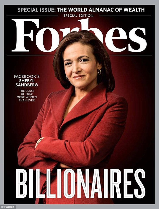 Leaning in: Facebook COO Sheryl Sandberg is one of 42 new women on the Forbes billionaires list which broke records this year for the largest share of females on the list
