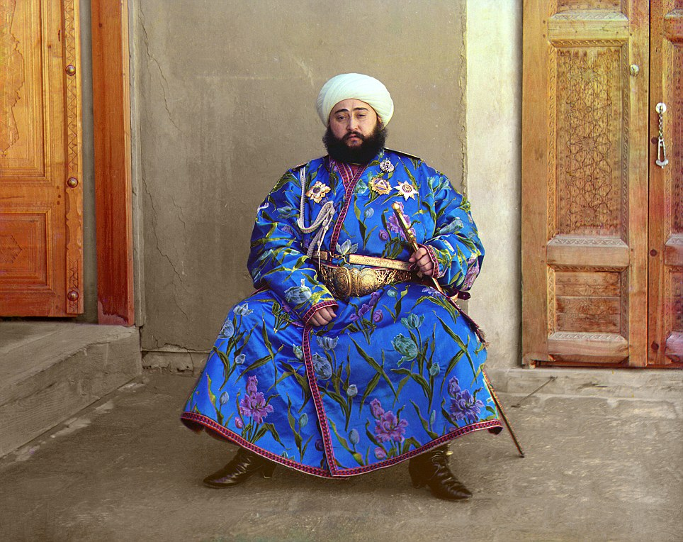 The last Emir of Bukhara: Photographer Sergey Prokudin-Gorsky captured Russia on the brink of modernisation. Pictured here in lavish robes is Emir Seyyid Mir Mohammed Alim Khan, the final Emir of Bukhara (present-day Uzbekistan), ca. 1910.