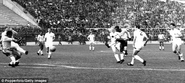 Long-range effort: Didi (third right) shoots against England in 1962