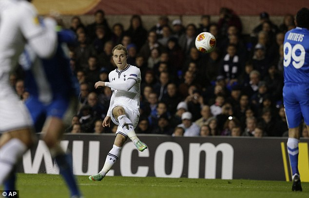 Caution: Eriksen suffered a muscle problem in the Europa League win over Dnipro