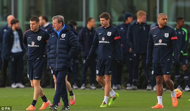Session: Roy Hodgson and his England squad trained at Tottenham's Enfield Training Centre