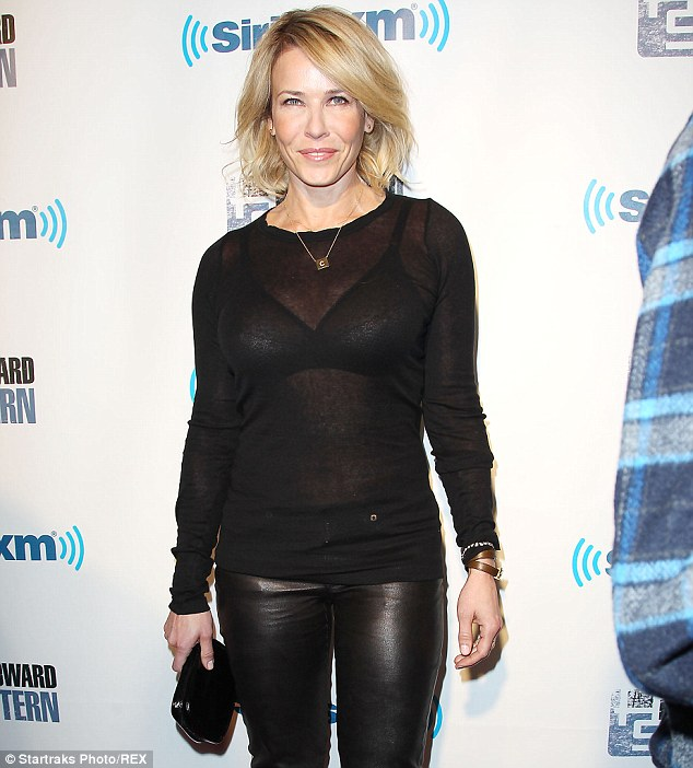 Angry much?: Chelsea Handler, pictured on January 31, took pot shots at Lupita Nyong'o and Brad Pitt's film 12 Years A Slave to plug her book Uganda Be Kidding Me while taking over The Huffington Post's Twitter account on Sunday