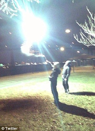 Friends: This image shared online by Junes Umarov shows him and Boston bombing suspect Dzhokhar Tsarnaev playing with fireworks in Boston before the April 2013 terror attacks