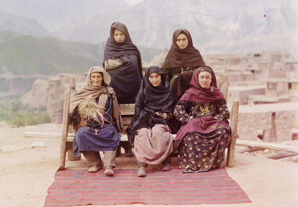 A group of women in Dagestan pose for a photo. Prokudin-Gorsky was charged with capturing the faces and landscapes of Russia