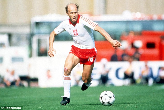 Running the show: Grzegorz Lato drives forward for Poland against Cameroon in 1982