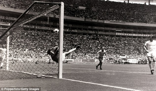 Super saver: Gordon Banks (left) somehow keeps out Pele's header in 1970 - it is one of the most iconic moments in World Cup history