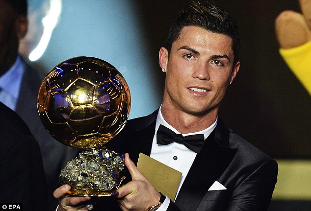 Golden boy: Ronaldo is the current holder of the Ballon d'Or after being voted the world's best player