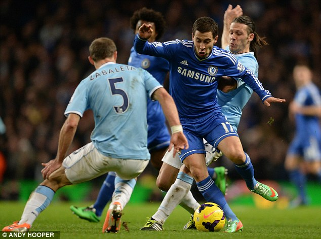 Untouchable: Hazard starred in Chelsea's victory at Manchester City earlier in the year