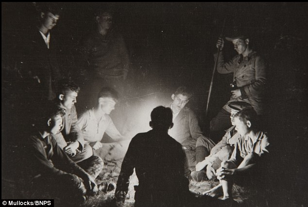 Round the camp fire: Nieboy's Youth company on a march in the early 1930s