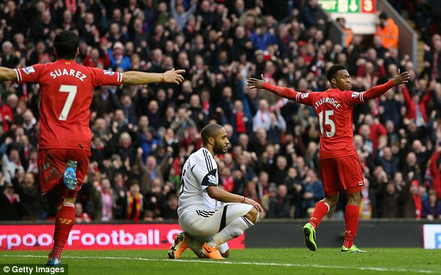 Deadly: Luis Suarez and Sturridge have formed a formidable partnership upfront for Liverpool, labelled 'SAS'