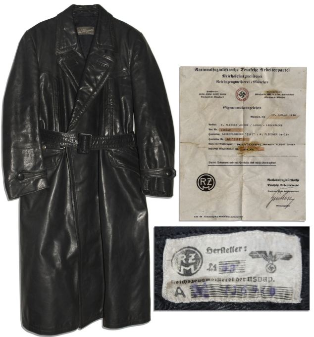 A label inside the coat depicts the NSDAP eagle emblem denoting the Nazi elite. Also included is the original invoice for the coat with Speer's name printed on it