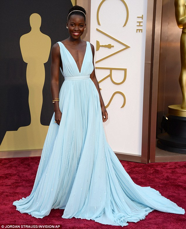 Gorgeous: Lupita wowed everyone at the Oscars in her stunning Prada dress