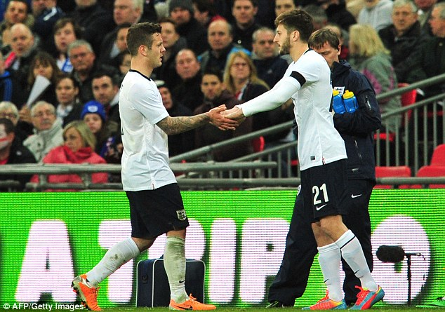 Disappointing: The 22-year-old was hauled off by manager Roy Hodgson and replaced by Adam Lallana