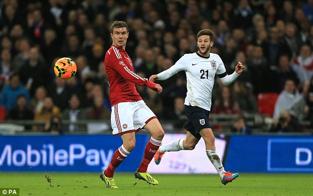 Exuberance: Lallana was the exact opposite to Wilshere with his braveness going forward