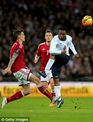 Air shot: Sturridge spurned a couple of chances to hand England the lead before his 81st minute header
