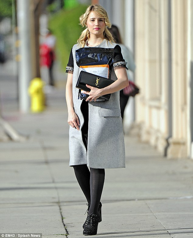 High fashion: Dianna Agron was dressed to the nines as she stopped by a pet store in West Hollywood, CA on Wednesday