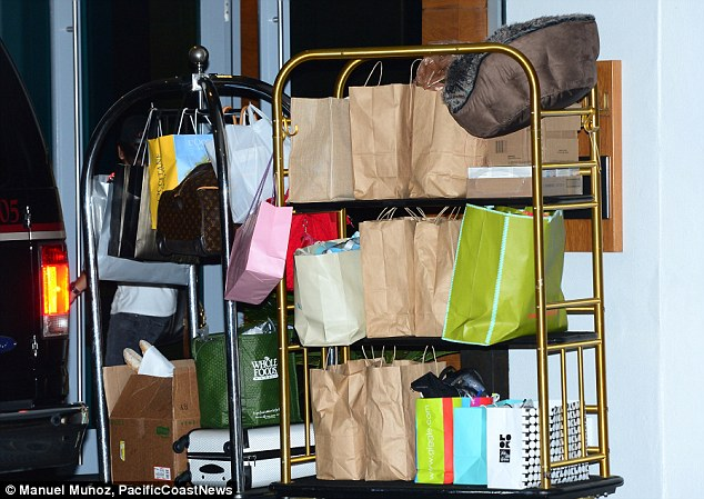 Retail therapy: It seems Simon and Lauren may have gone slightly overboard with their shopping during their time in Miami