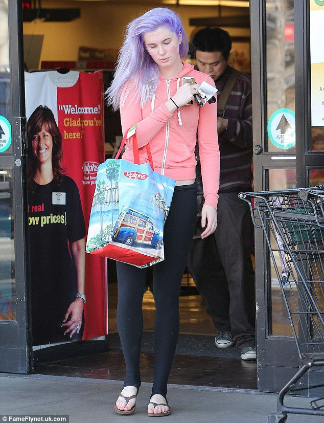 Purple mane! Ireland Baldwin stepped out for the first with her lavender-hued hair in LA on Thursday