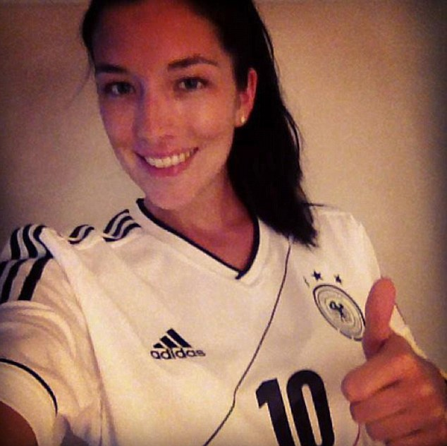 Thumbs up: Charlotte wears a Germany shirt. Holtby has won three caps for his country