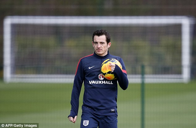 On the plane? Leighton Baines looks as though his spot in Hodgson's squad is nailed on
