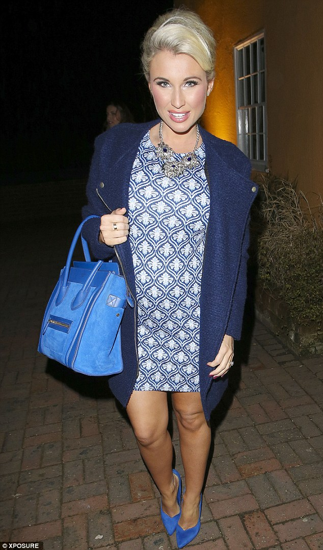 Feeling blue: Billie Fairs opts for a coordinated colour palette for a night out with the TOWIE lot