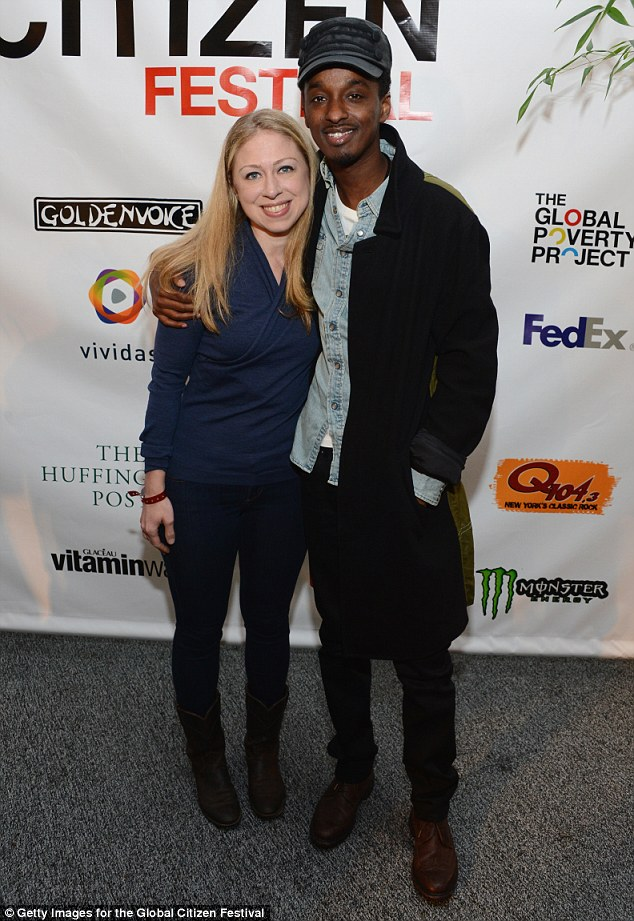 Friends in high places: K'Naan is pictured here with Chelsea Clinton at the Global Citizen Festival to End Extreme Poverty in 2012