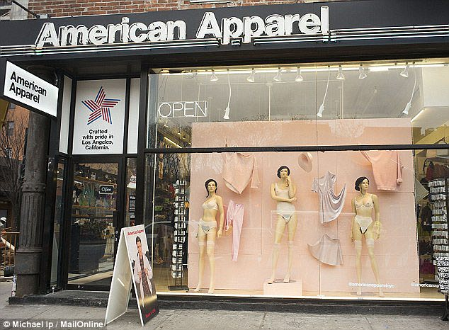 Shock tactics: American Apparel, which is Made-in-the-USA, has a long history of sparking outrage. In February, it gave the mannequins in the window of a Downtown New York store fake pubic hair as a Valentine's day stunt