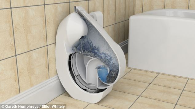 The foldable concept toilet is more efficient than standard toilets too as it uses just two-and-a-half litres of water per flush because of its innovative design, compared to six litres for an average toilet
