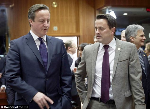 Cameron and Bettel deep in discussion, pictured last December