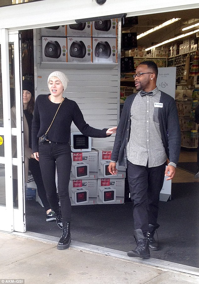 Stocking up: Miley Cyrus takes a break from her Bangerz tour and shops around for some items for her home as she was seen leaving Bed Bath & Beyond in LA