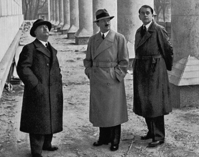 Speer (right with Hitler center) was well known for his leather coat. The coat came with a note from a U.S. serviceman explaining how he found it