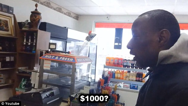 Disbelief: Eric, the homeless man, cannot believe his luck as he is told he has won $1,000
