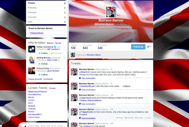 Spoof account: As Miss Worrall's tweet went viral, a joke account for 'Barraco Barner, UK prez' was set up