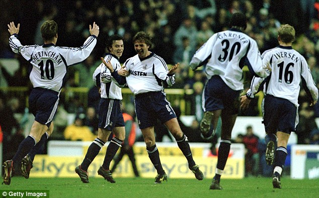 Get in: Sherwood celebrates after scoring in the Worthington Cup 5-1 win in January 2002