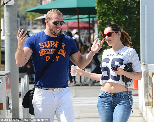 Messing around: Kelly and James looked like they were getting along very well during their day out