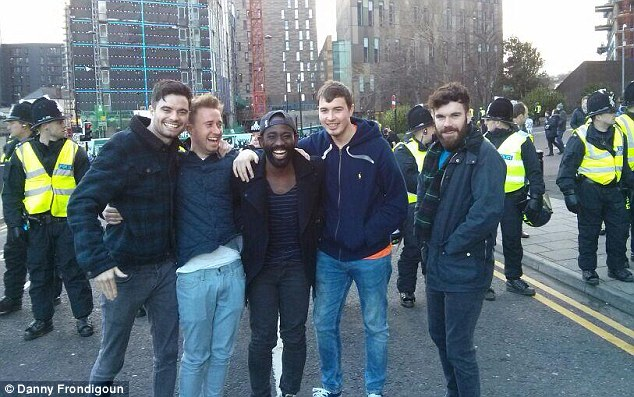 Day before: Danny (second from the left) with his mates before the Newcastle vs Sunderland match. The weekend finished on a sour note which involved police at King's Cross station