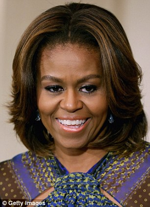 Ms Parsekian is not the only one embracing power brows - the thick, bold brow has even reached the White House, with Michelle Obama ditching her thin arch (left) and embracing a fuller shape (right)