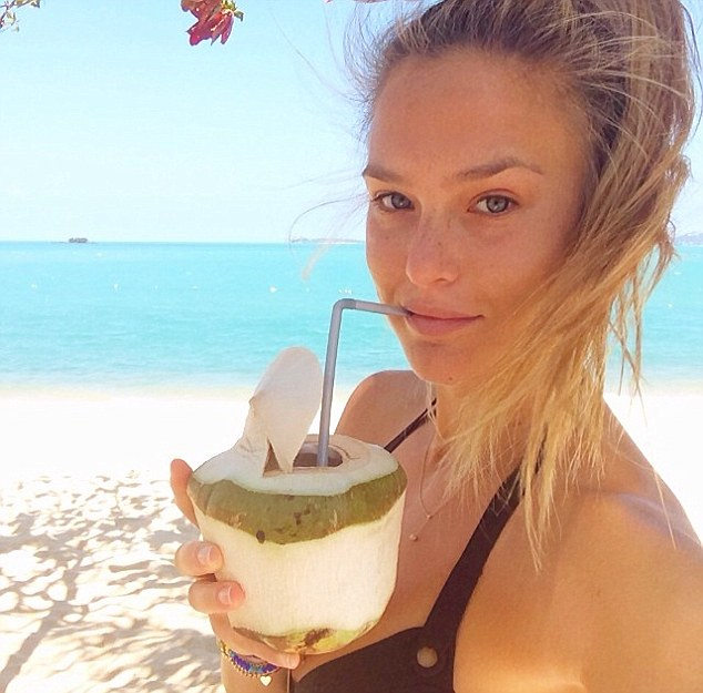 Beverage anyone? The 28-year-old posts a snap of her enjoying a refreshing coconut drink